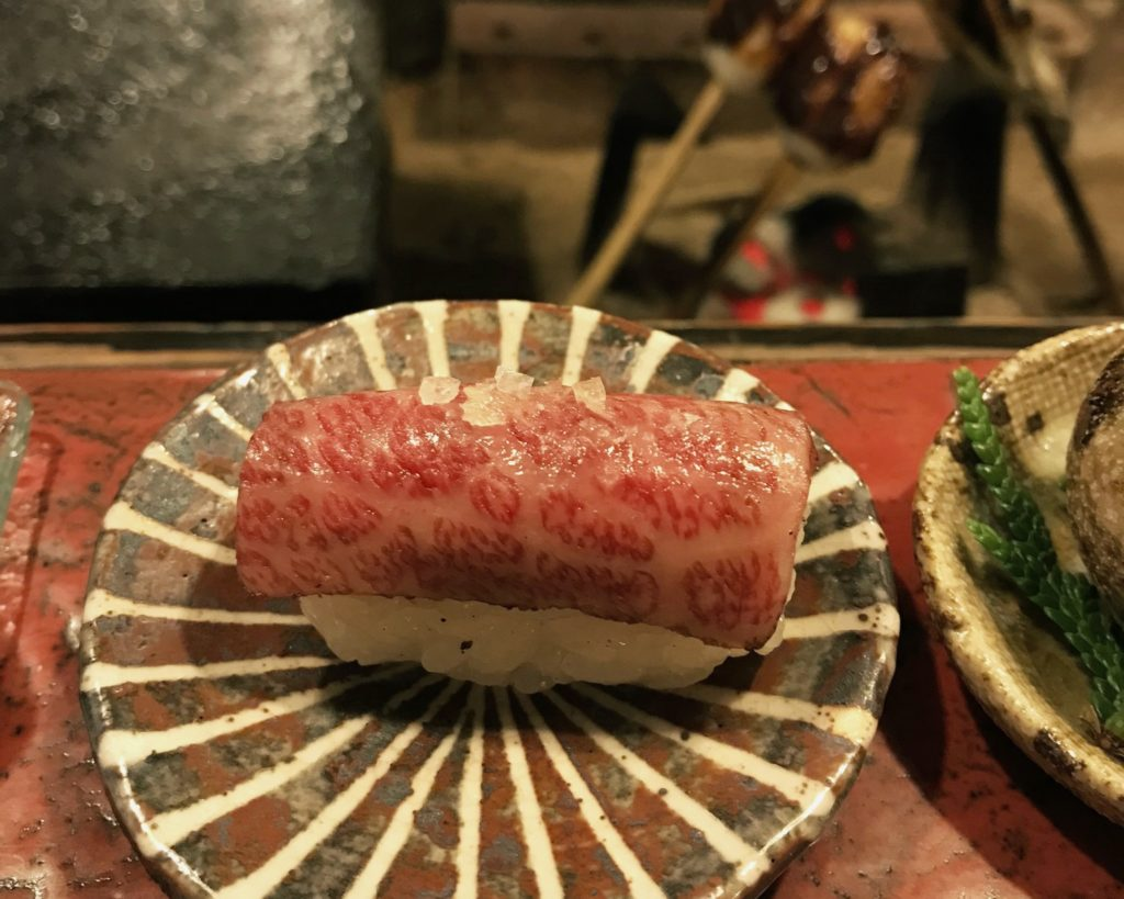 wagyu beef nigiri part of kaiseki at Kakurean Hidaji ryokan in takayama japan