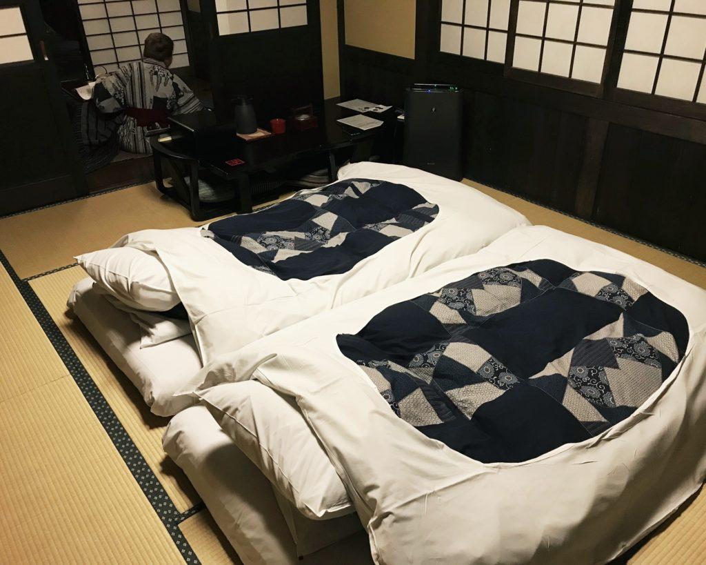 twin japanese futons inside Kakurean Hidaji kaiseki at Kakurean Hidaji ryokan in takayama japan