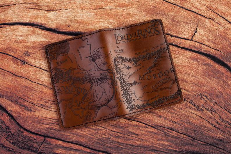 Luxury leather passport cover for LOTR lovers
