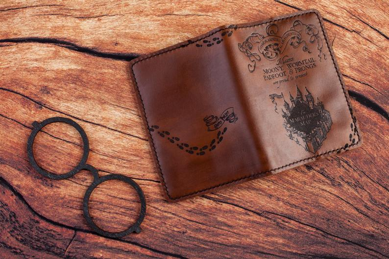 Handcrafted leather passport wallet gift for the traveler in your life