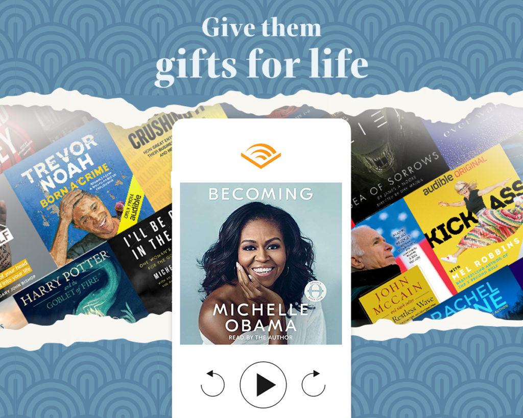 Audible audiobooks are a gift idea for someone who loves to travel
